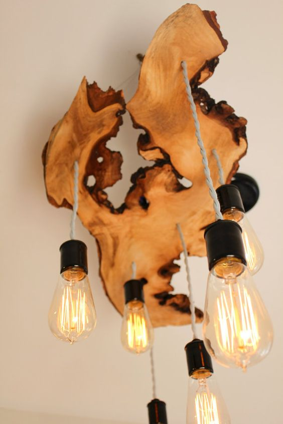 wood slab light fixture