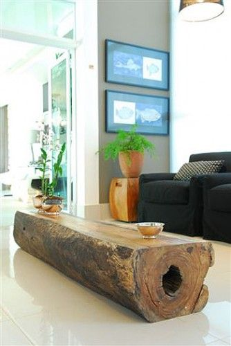 solid log coffee table