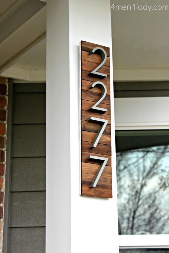 modern rustic house number