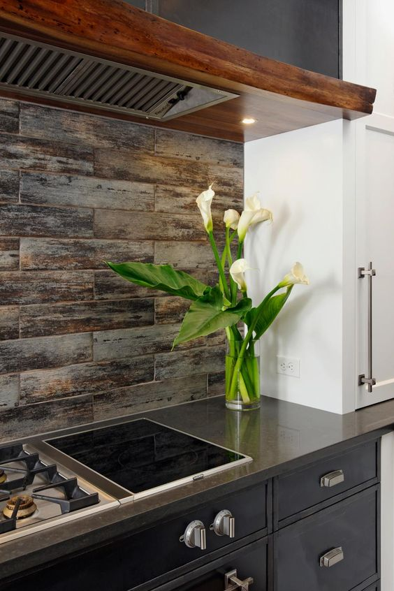wood themed ceramic tile backsplash