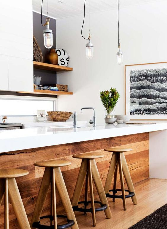 modern kitchen with rustic bar and stools