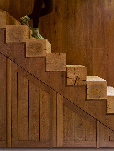 solid wood beam stairs