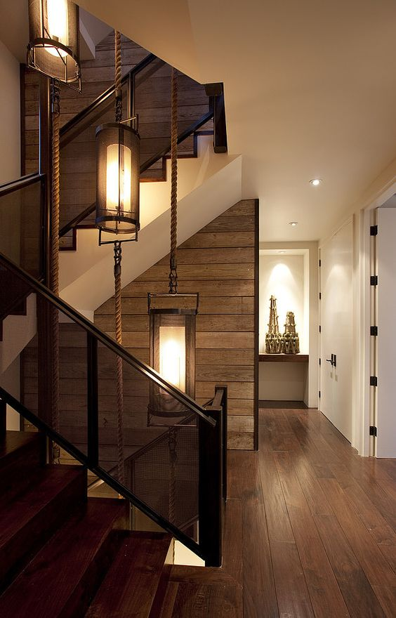 rustic staircase and walls
