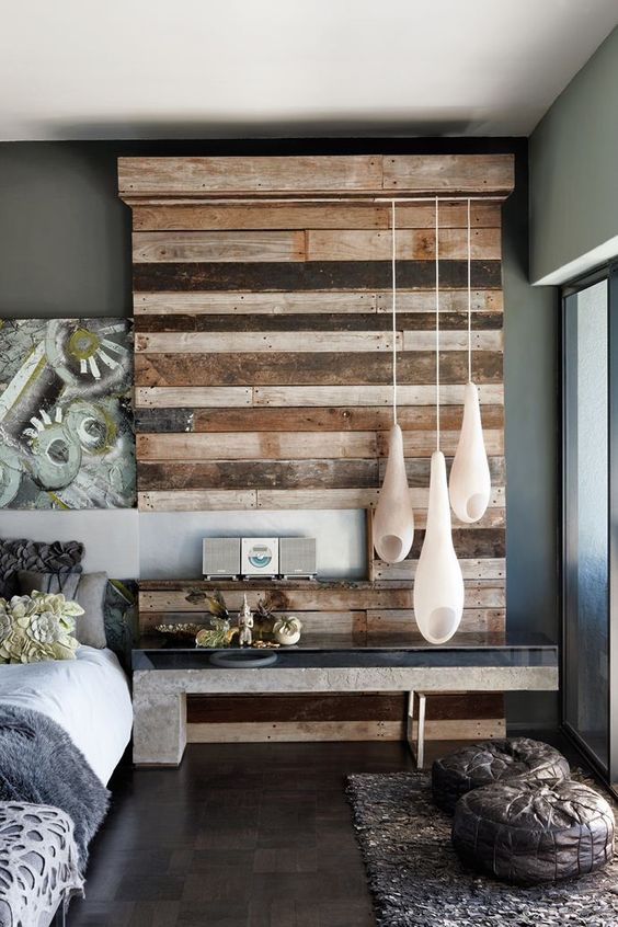 rustic bedroom with textured wood wall feature