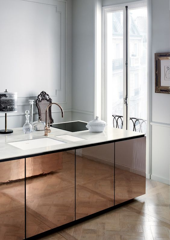 white and copper modern kitchen island
