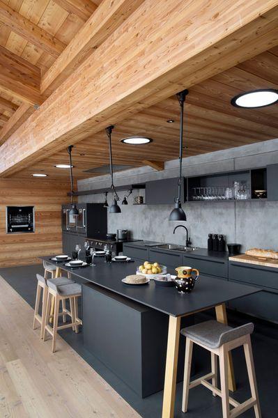 minimalist black and wood kitchen