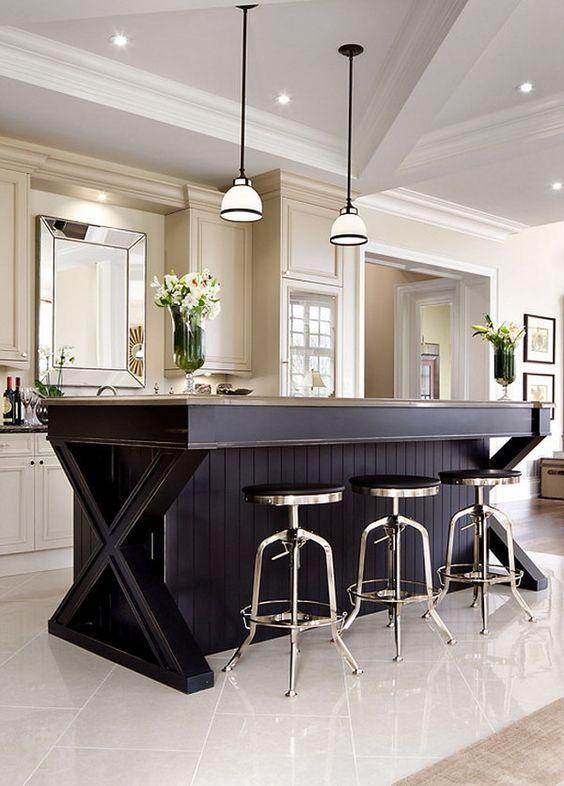 elegant kitchen with black island