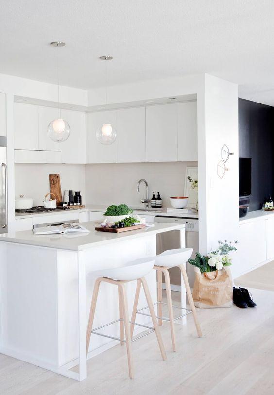 small and modern white kitchen