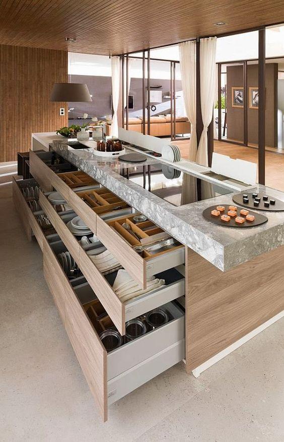 modern kitchen organiser drawers