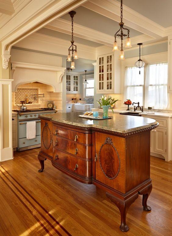 vintage sideboard turned kitchen island
