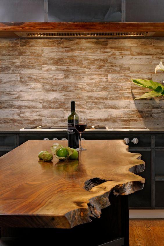 walnut wood slab kitchen island counter