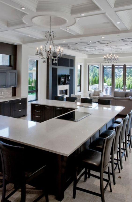 spacious U-shaped kitchen island