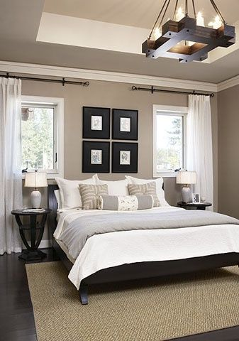 neat brown and white bedroom