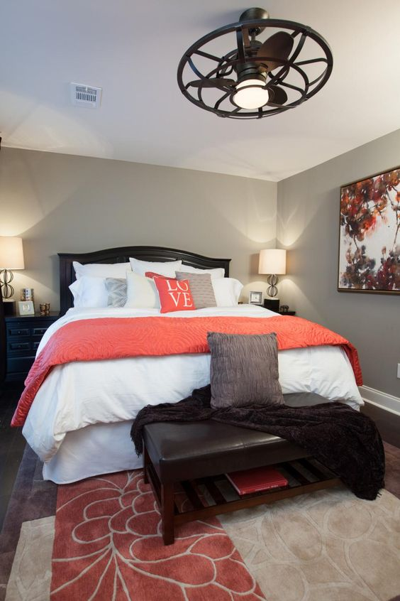 coral and brown master bedroom