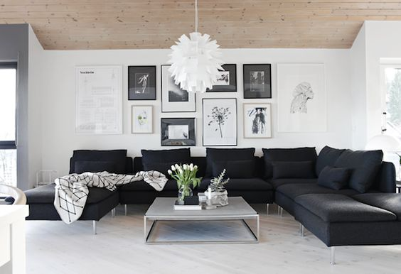 modern black and white living room