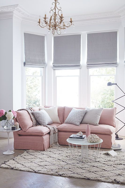 modern pink and grey living room