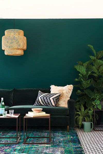 opulent green and gold living room