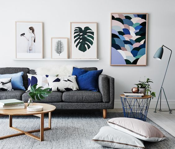 High Quality Artistic Blue And Grey Living Room