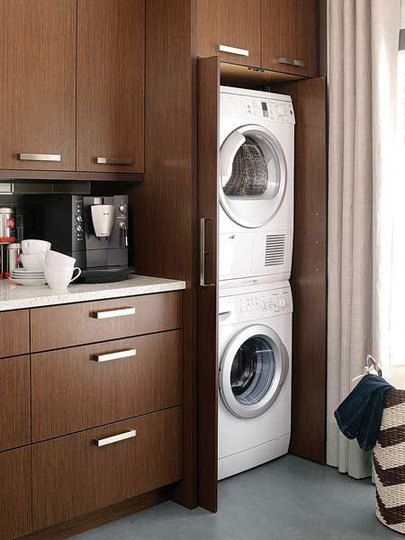 laundry inside kitchen cabinet