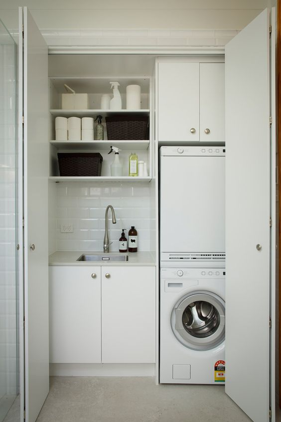 40 small laundry room ideas and designs renoguide for Small bathroom laundry designs