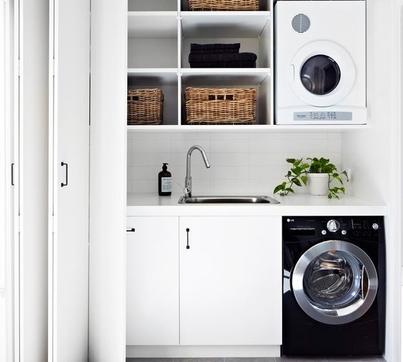 40 small laundry room ideas and designs renoguide - Laundry room ideas small spaces collection ...