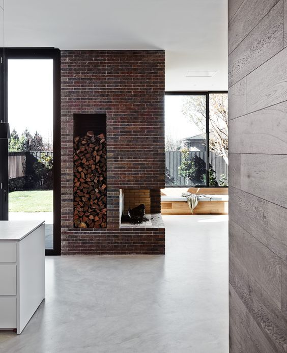 modern house with brick fireplace