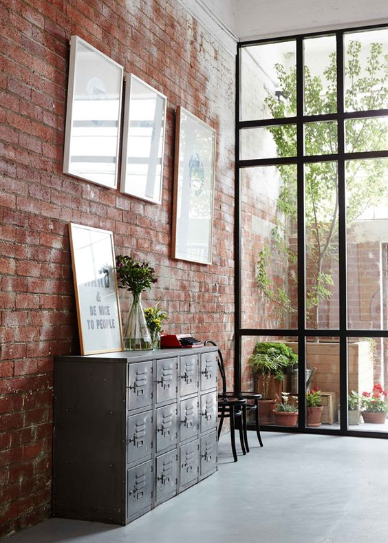 brick and glass walls