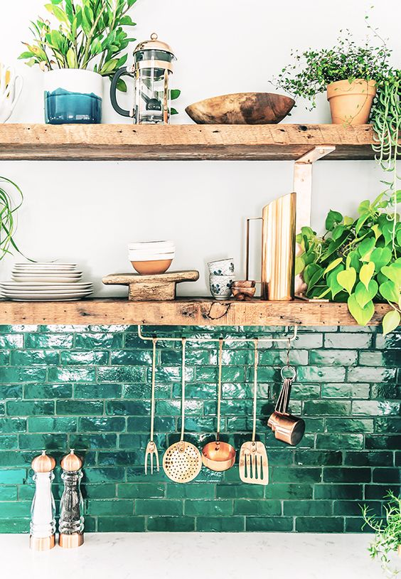 green brick splashback