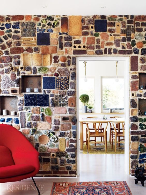colourful Spanish room with brick wall