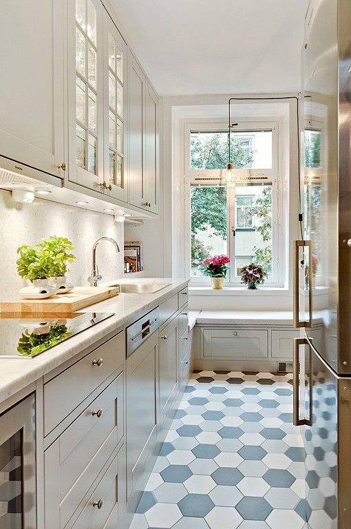elegant narrow kitchen