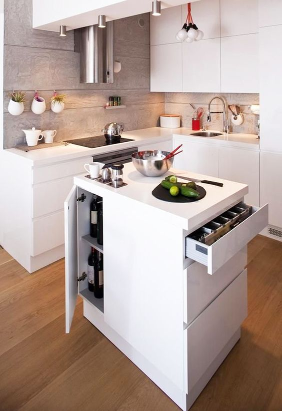 small and efficient kitchen island