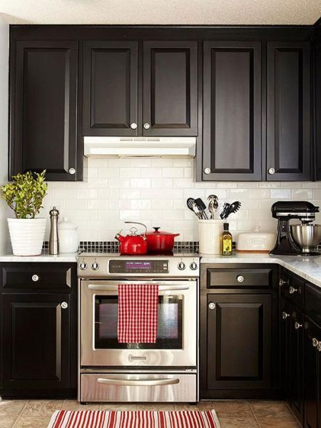 Lovely Small Red And Black Kitchen