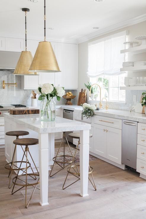 white and gold kitchen