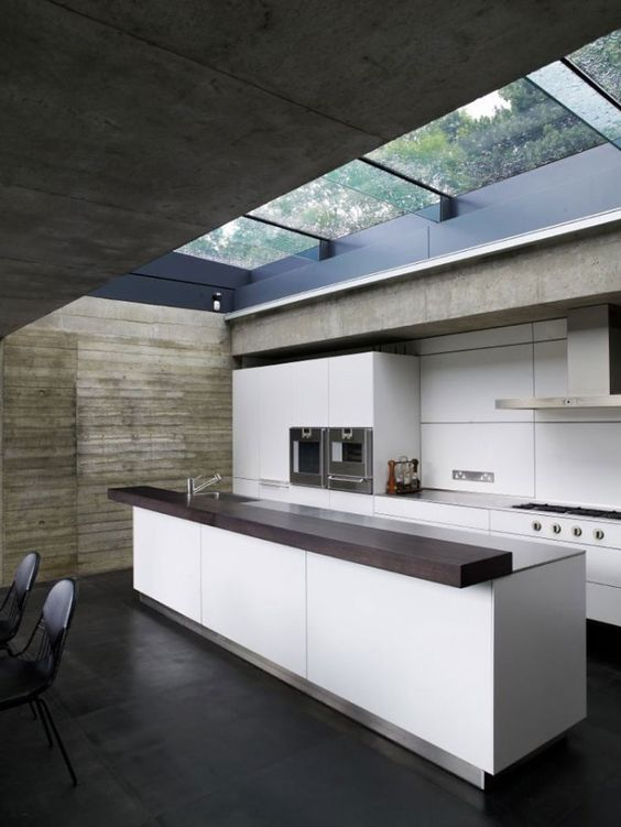 modern kitchen with skylight