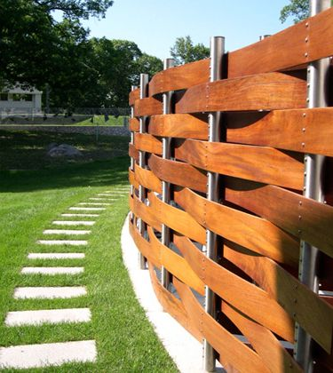 basket weave wood fence