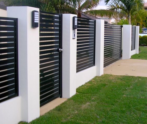 Modern black and white fence