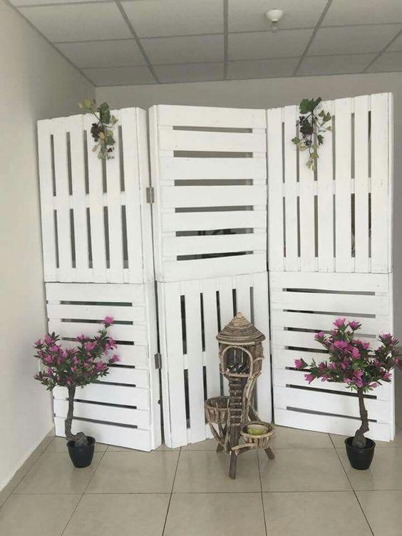 white pallet room divider