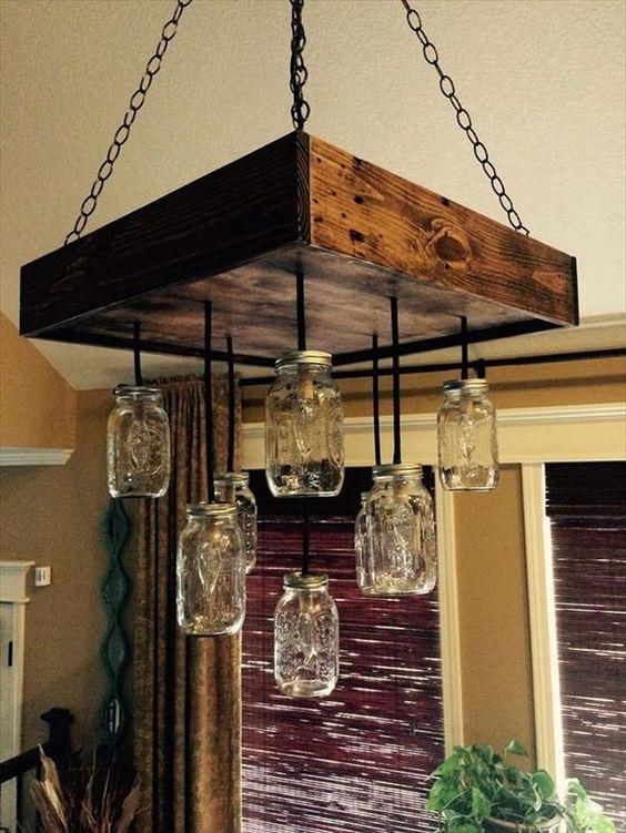 mason jar and pallet lighting
