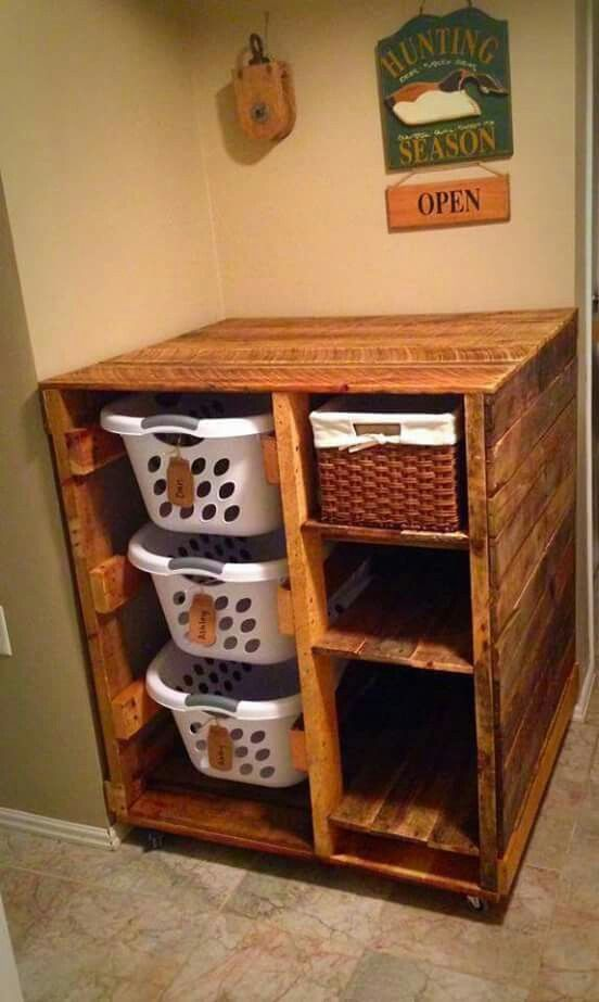 recycled pallet laundry organiser