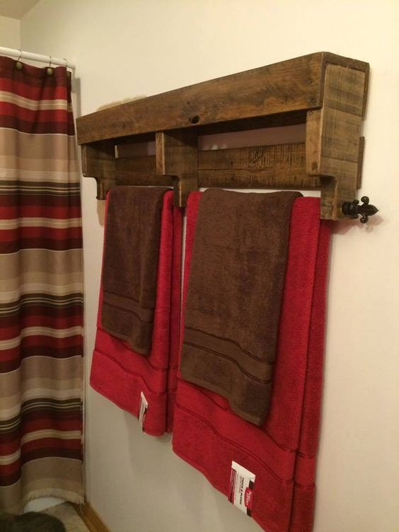 recycled pallet towel holder