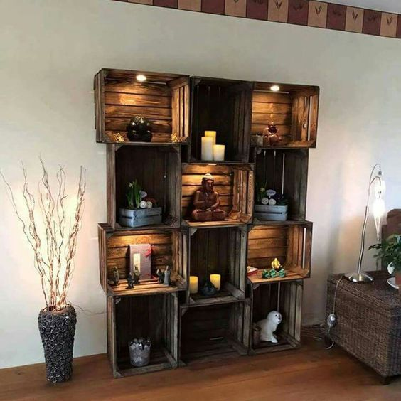 repurposed crate shelving