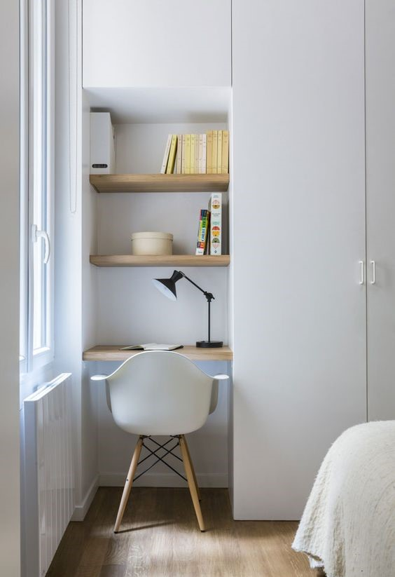 tiny study nook closet