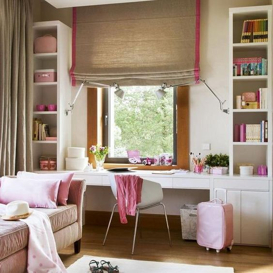 white and pink study area