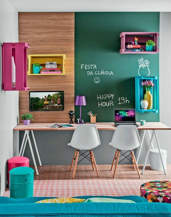 colourful study room