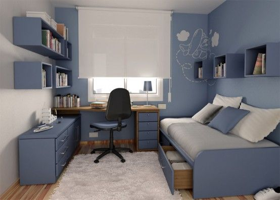 blue teens bedroom