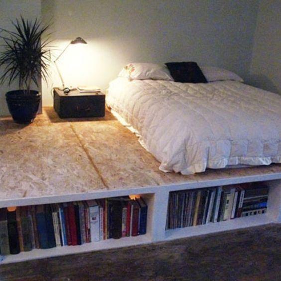 bed in a platform