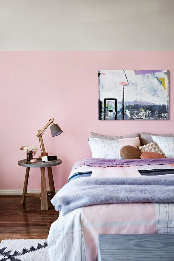 trendy pink bedroom
