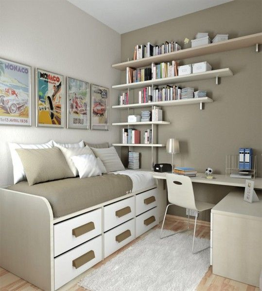 beige teen's bedroom