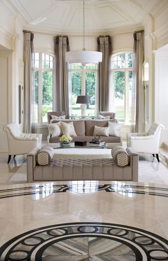 classic living room with marble floors