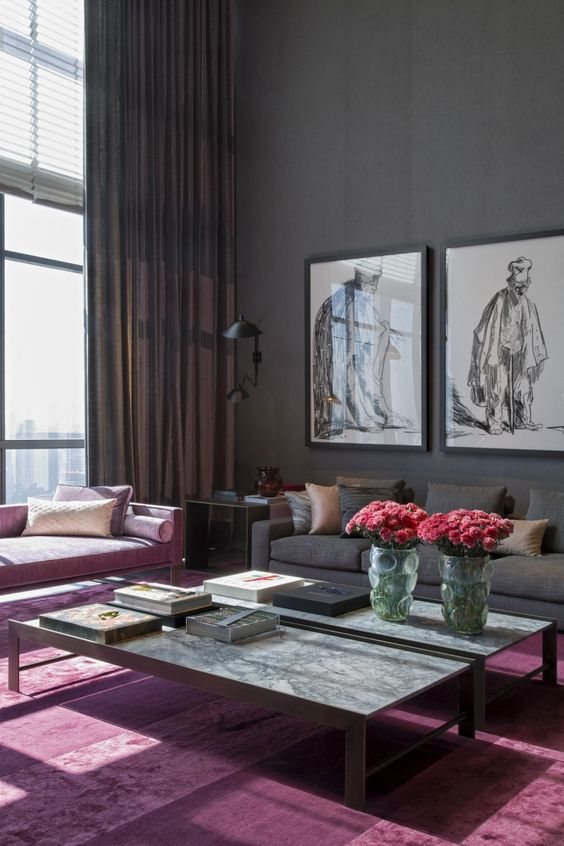 charcoal and mauve living room
